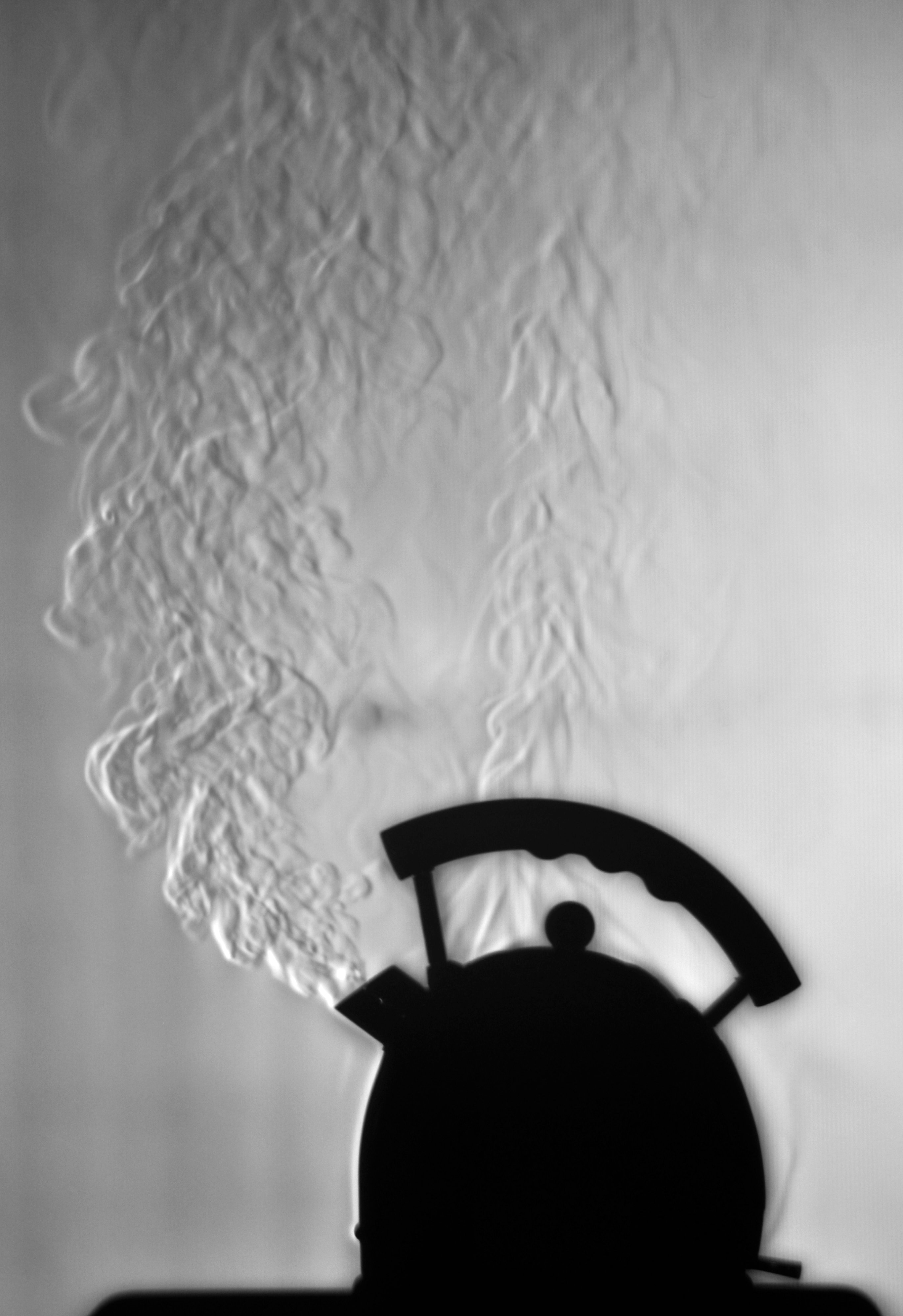 Schlieren image of heated air from a lamp and a kettle