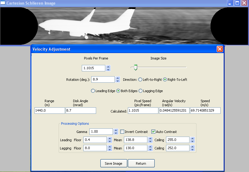 SAFRAN Velocity Adjustment Screen Shot